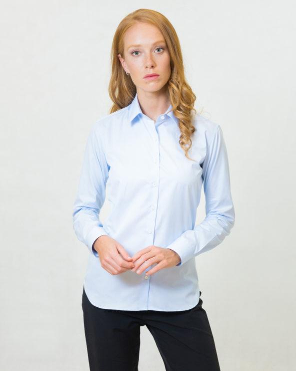 camicia celeste slim fit puro cotone