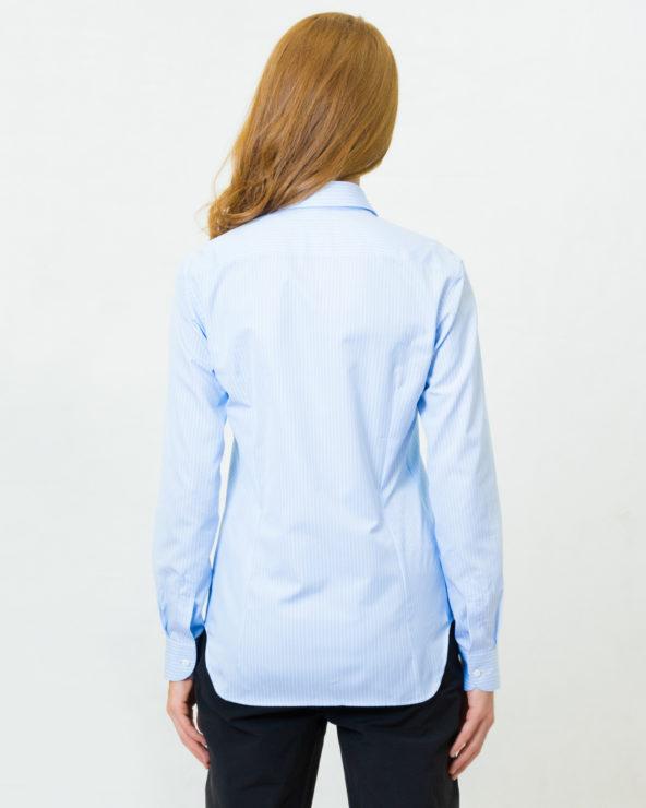 camicia celeste a righe bianche slim fit puro cotone