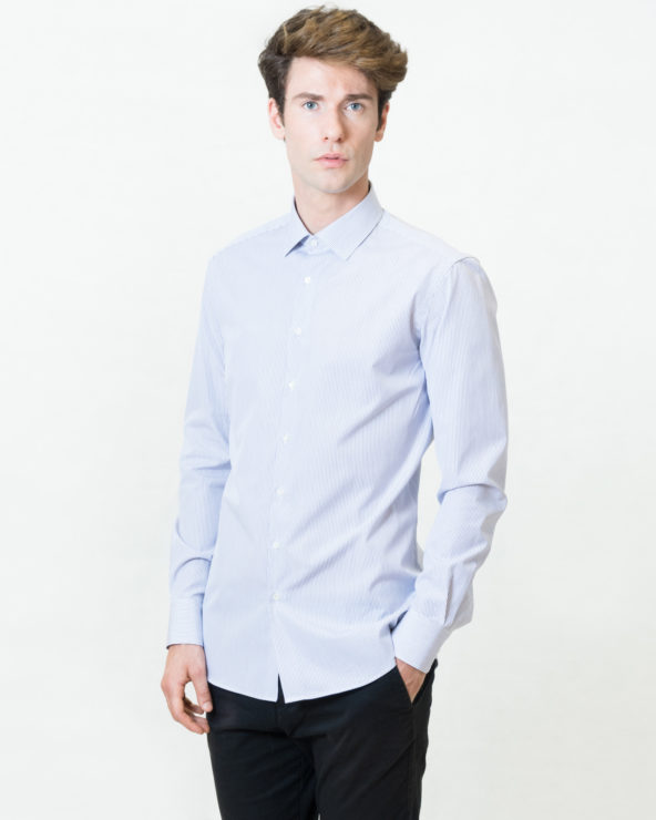 camicia a righe blu scure slim fit puro cotone