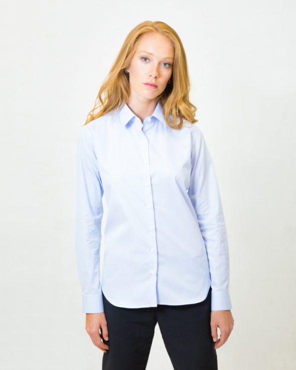camicia da donna quadro celeste slim fit puro cotone